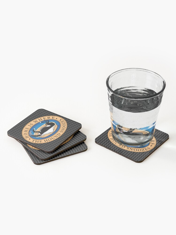 Alternate view of Home is where the Hound snoozes Coasters (Set of 4)
