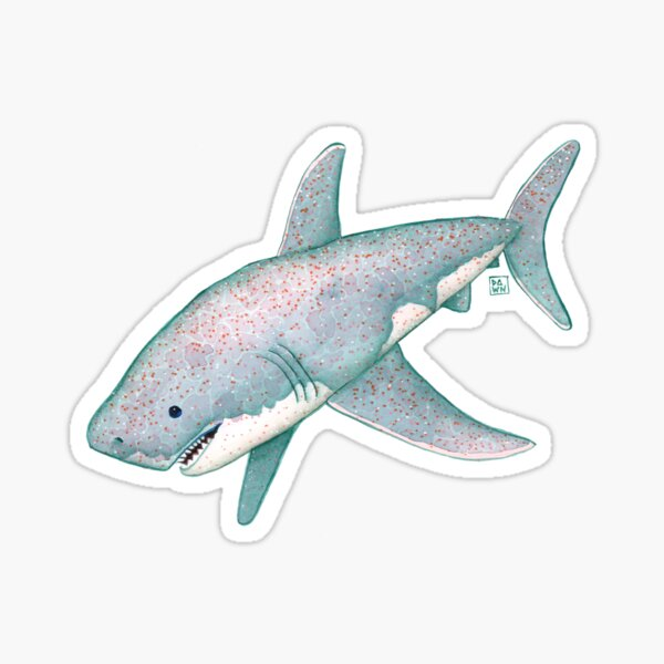 Cute Sparkly Great White Shark Painting Sticker