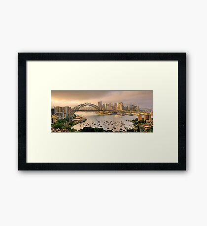 A Little Ray Of Sunshine - Sydney Harbour, Sydney Australia - The HDR Experience Framed Print