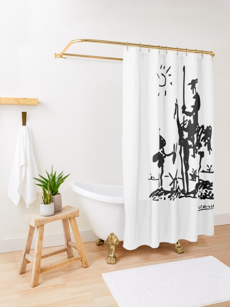 Alternate view of Pablo Picasso Don Quixote 1955 Artwork Shirt, Reproduction Shower Curtain