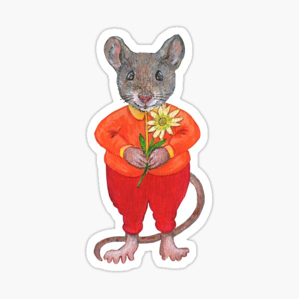 A Sweet Mouse with a Flower Sticker