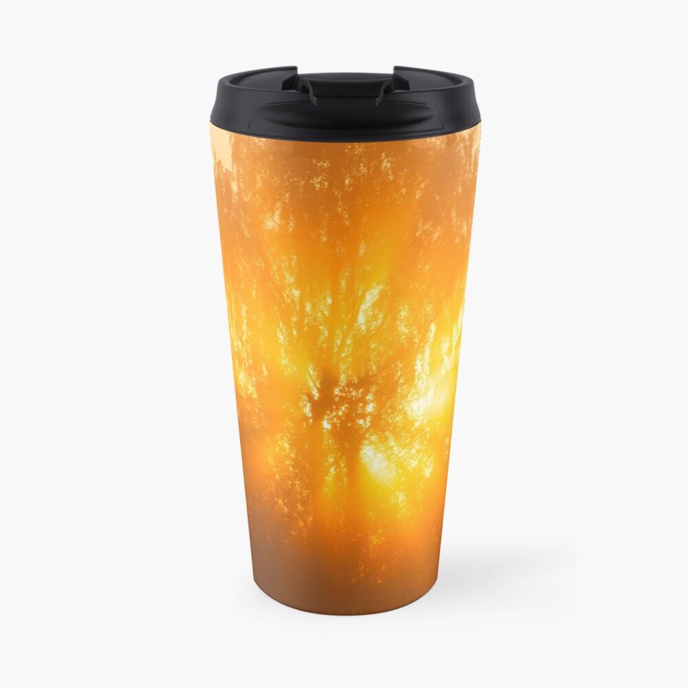 Sunbeams through tree in morning fog Travel Mug