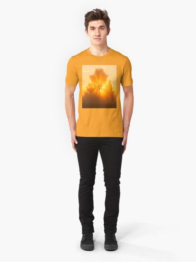 Alternate view of Sunbeams through tree in morning fog Slim Fit T-Shirt