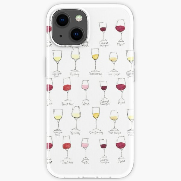 Wine Glass Colors Watercolor iPhone Soft Case