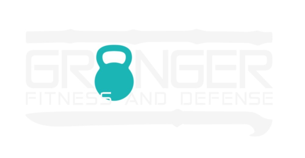 Granger Fitness and Defense Teal And White Full logo by John Granger