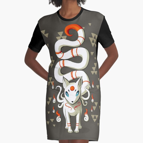 Long Tail Fox Graphic T-Shirt Dress