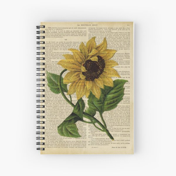 Botanical print, on old book page - flowers- Sunflower  Spiral Notebook