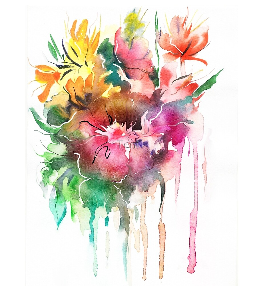 Flowers. Watercolor illustration by Teni
