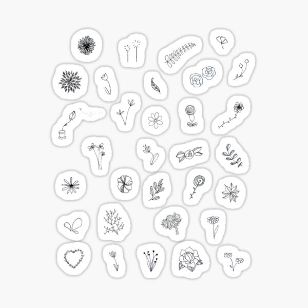 Mini Wildflower Doodle Flower Sticker Set Sticker