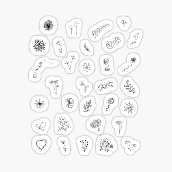 Ensemble d'autocollants Mini fleurs sauvages Doodle Flower Sticker