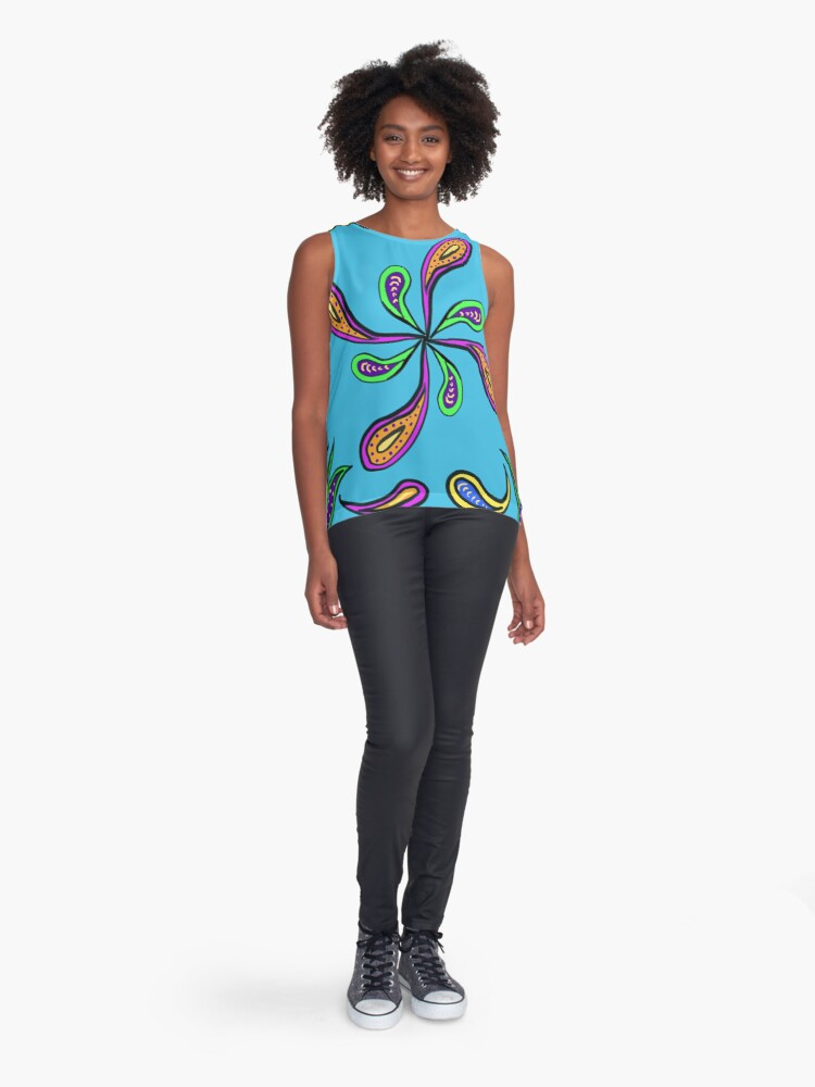 Alternate view of Cyan Paisley Spiral Sleeveless Top