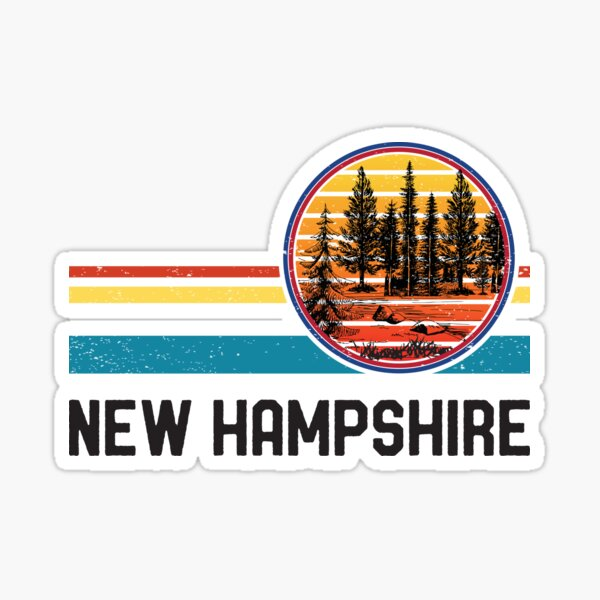 Vintage Retro New Hampshire 80s 70s Lake Pine Forest Sunset Sticker