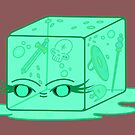 a friendly gelatinous cube (green) by tentaclemade