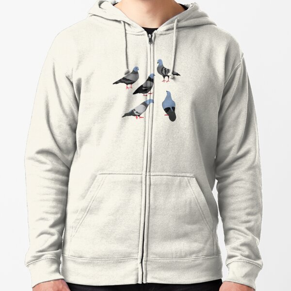 Design 33 - The Pigeons Zipped Hoodie