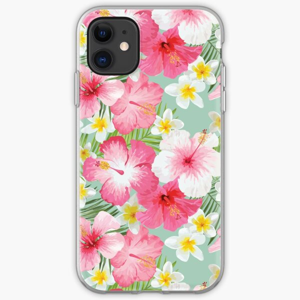 Tropical Hibiscus and Plumeria Flowers  iPhone Soft Case