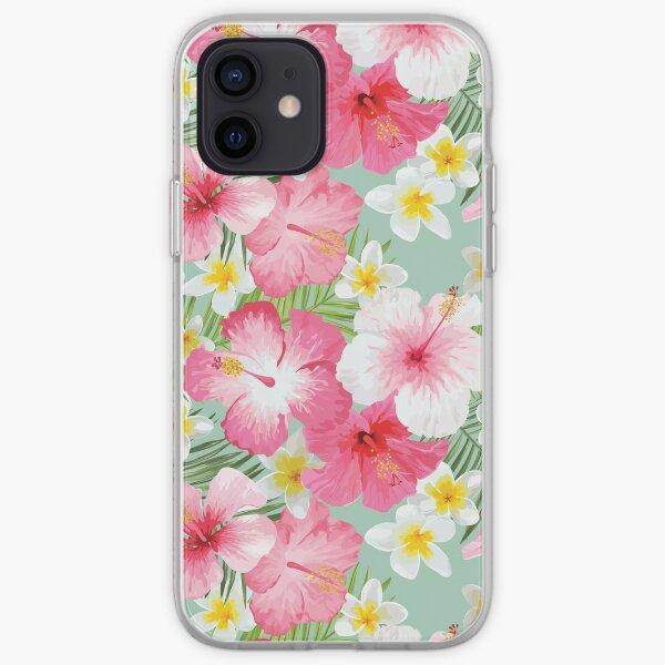 Tropical Hibiscus and Plumeria Flowers  iPhone Soft Case