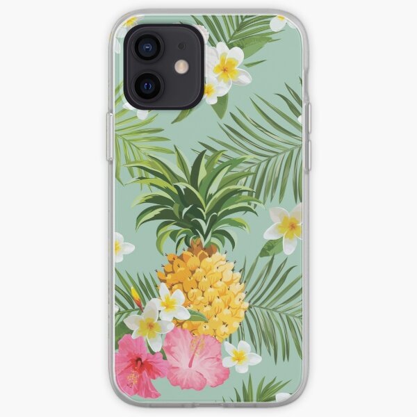 Hawaiian Pineapple and Tropical Flowers iPhone Soft Case
