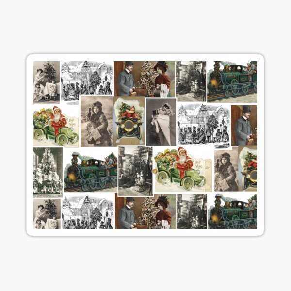 Victorian Christmas Collage Sticker