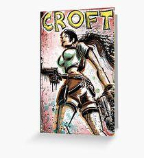 Lara Croft, Tomb Raider, Art, Print, Video Game, Movie, Comic Book, Geekery, Playstation, Illustration,Drawing, Birthday Present, joe badon, nintendo, sega, film, movie Greeting Card
