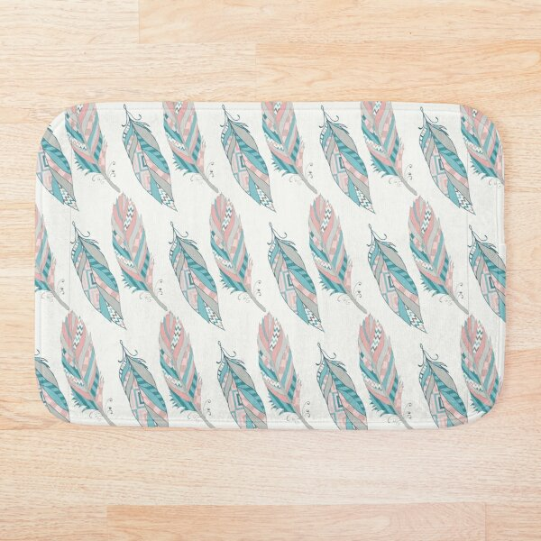 80's Style Native American Pastel Feathers Bath Mat