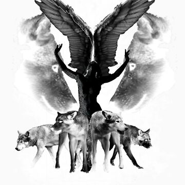 Wolves and Angel by Laceranimus