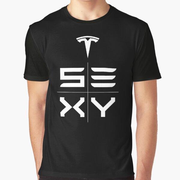 Tesla Model S3XY White Print Graphic T-Shirt