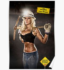 Caution: Models At Work - The Coal Miner Poster