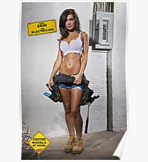 Caution: Models At Work - The Electrician Poster