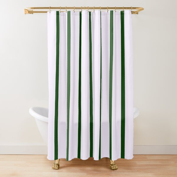 Green Stripes Shower Curtain