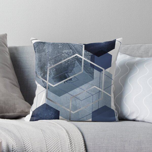 Abstract Blue Geometric Throw Pillow