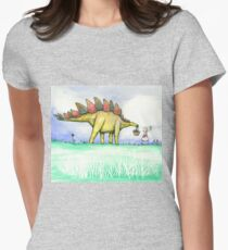 Stegosaurus Flowers Womens Fitted T-Shirt