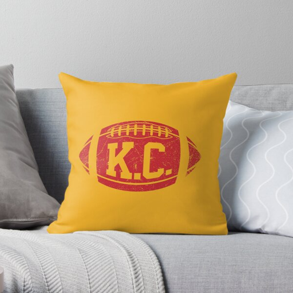 KC Retro Football - Yellow Throw Pillow