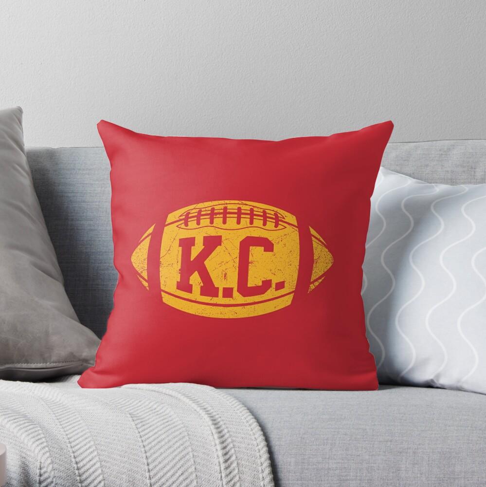 KC Retro Football - Red Throw Pillow