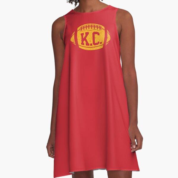 KC Retro Football - Red A-Line Dress