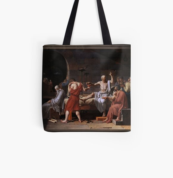 The Death of Socrates by Jacques Louis David All Over Print Tote Bag