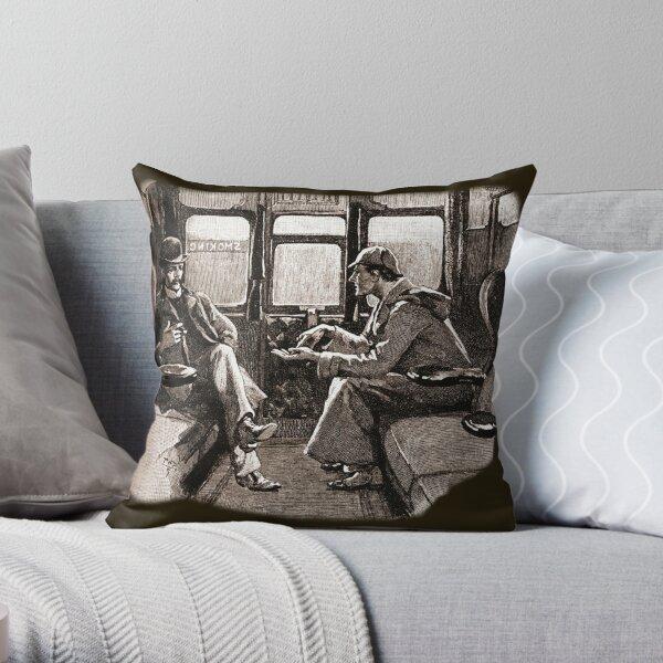 Sherlock Holmes et Watson dans un train de Sidney Paget Coussin