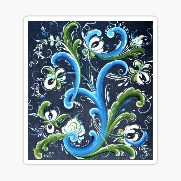 Traditional Scandinavian Rosemaling Art from Norway Sticker