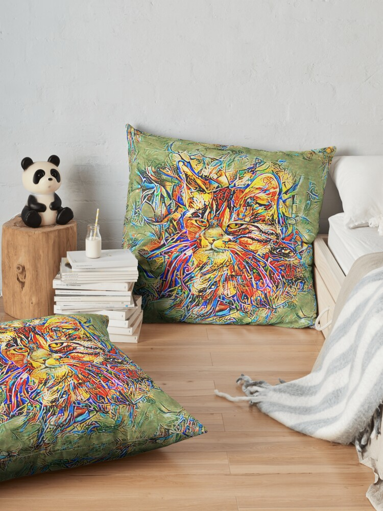 Alternate view of Ninja Cat. Deep Neural Networks #Art Floor Pillow