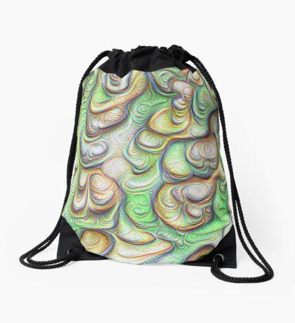 Frozen liquid green stones #DeepDream #Art Drawstring Bag