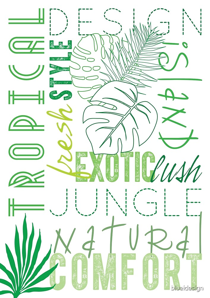 Tropical Typography Palm Leaves Green  by blueidesign