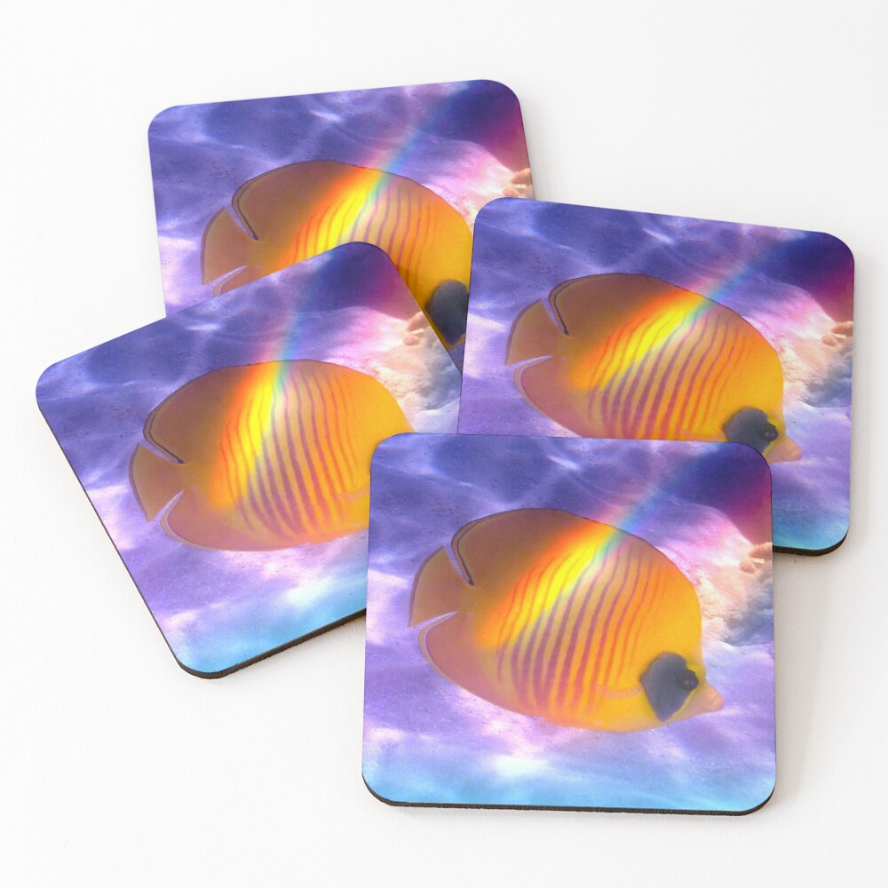 The Bluecheeked Butterflyfish Colorfully Coasters (Set of 4)