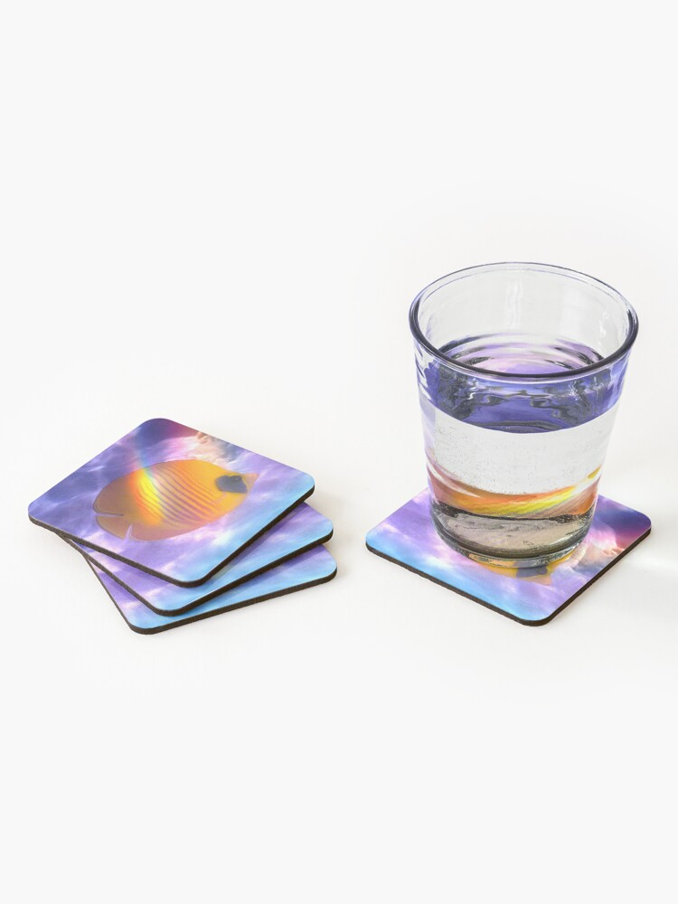 Alternate view of The Bluecheeked Butterflyfish Colorfully Coasters (Set of 4)