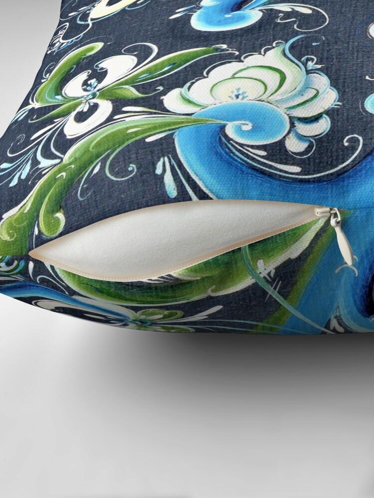 Alternate view of Traditional Scandinavian Rosemaling Art from Norway Throw Pillow