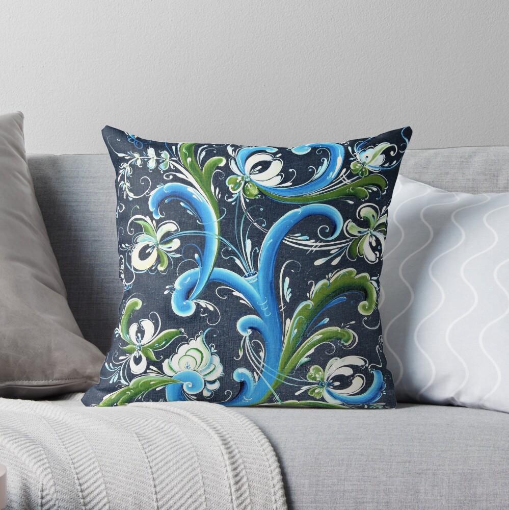 Traditional Scandinavian Rosemaling Art from Norway Throw Pillow