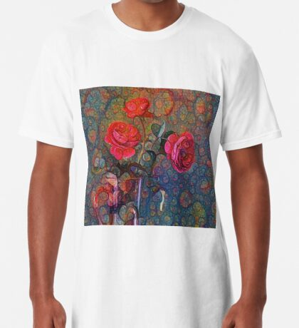 Roses #DeepDreamed Long T-Shirt