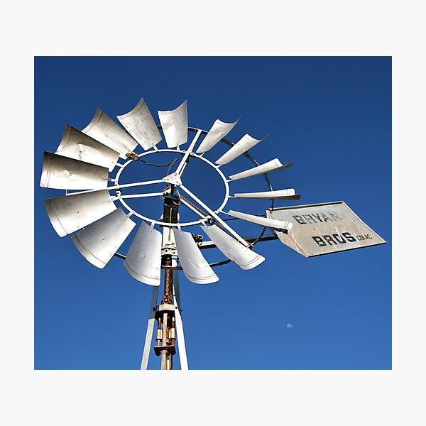 Windmill Moon Photographic Print