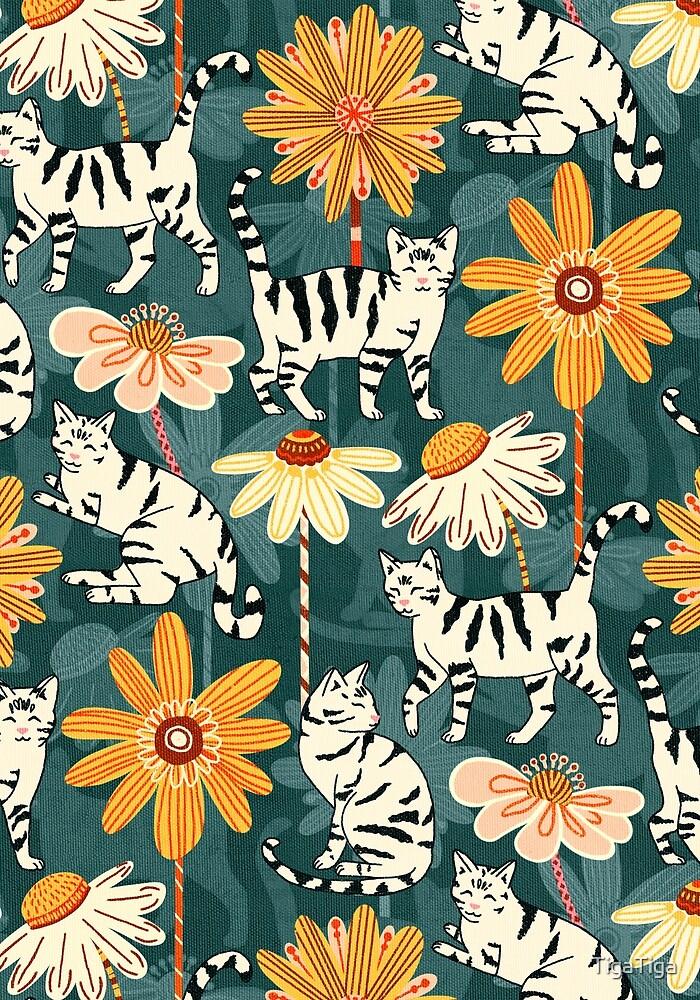 Daisy Cats - Navy  by TigaTiga