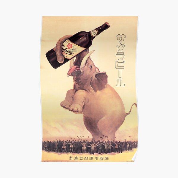 Giant Elephant SAKURA BEER JAPAN Advertisement Vintage Advertising Poster