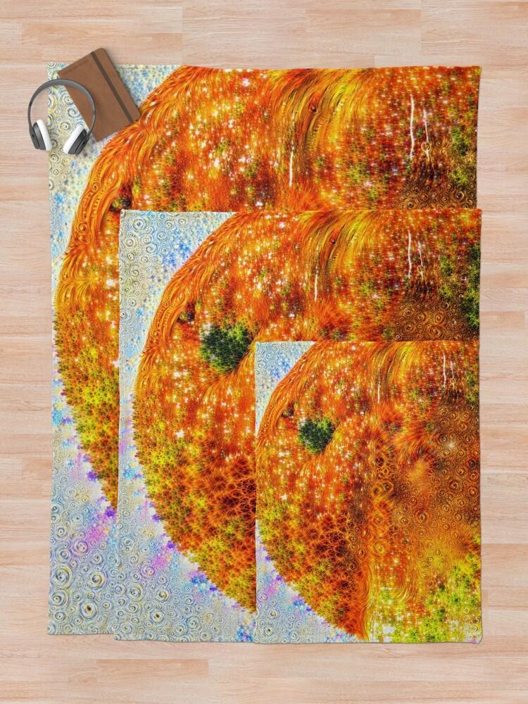 Alternate view of #DeepDreamed Frozen Orange Throw Blanket