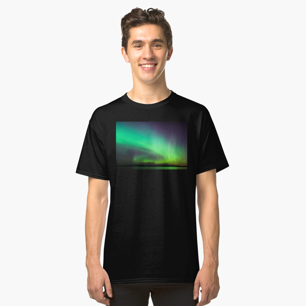 Northern lights over lake in Finland Classic T-Shirt